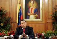El presidente Hugo Chavez en campaña electoral