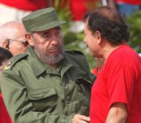 Fidel y Daniel Ortega el Primero de Mayo de este año en La Habana